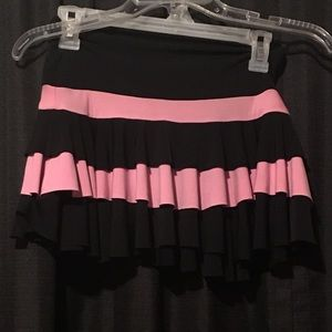 pink and black striped ruffle layered skirt
